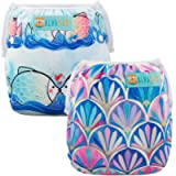 ALVABABY Swim Diapers Reuseable Washable Adjustable 0-36 mo.for Infants Toddlers Boy Girl 2 Pack One Size Swimming…