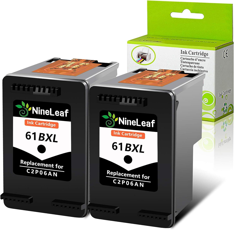 NineLaef Remanufactured Ink Cartridge Compatible for HP 61 61XL, 2 Black, Use for Envy 4500 5530 5534 5535, Officejet 2620 4630 4635 Deskjet 1000 1010 1510 1512 2540 3050 3510 3050A Printe
