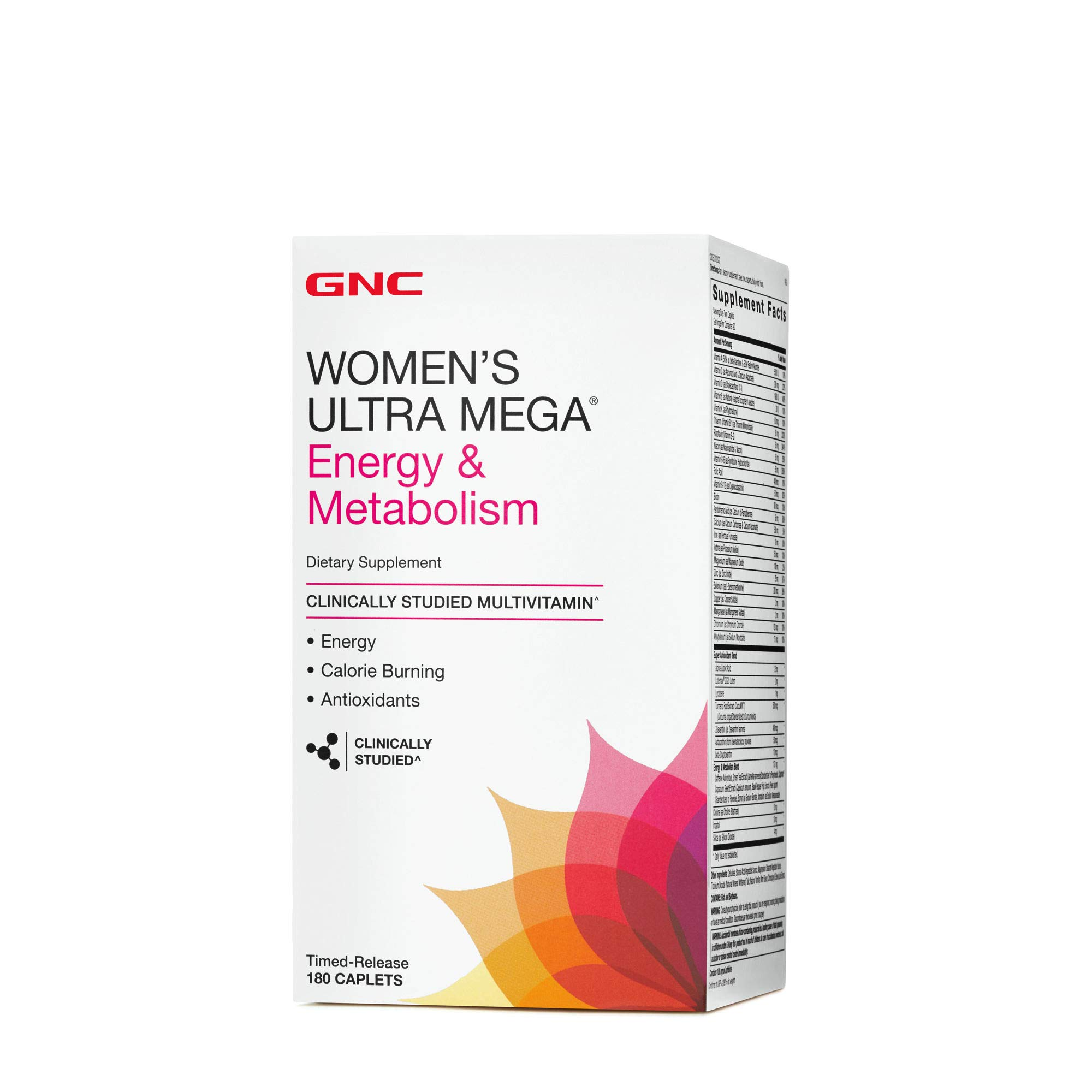 GNC Womens Ultra Mega Energy and Metabolism Multivitamin for Women, 180 Count, for Increased Energy, Metablism, and Calorie Burning