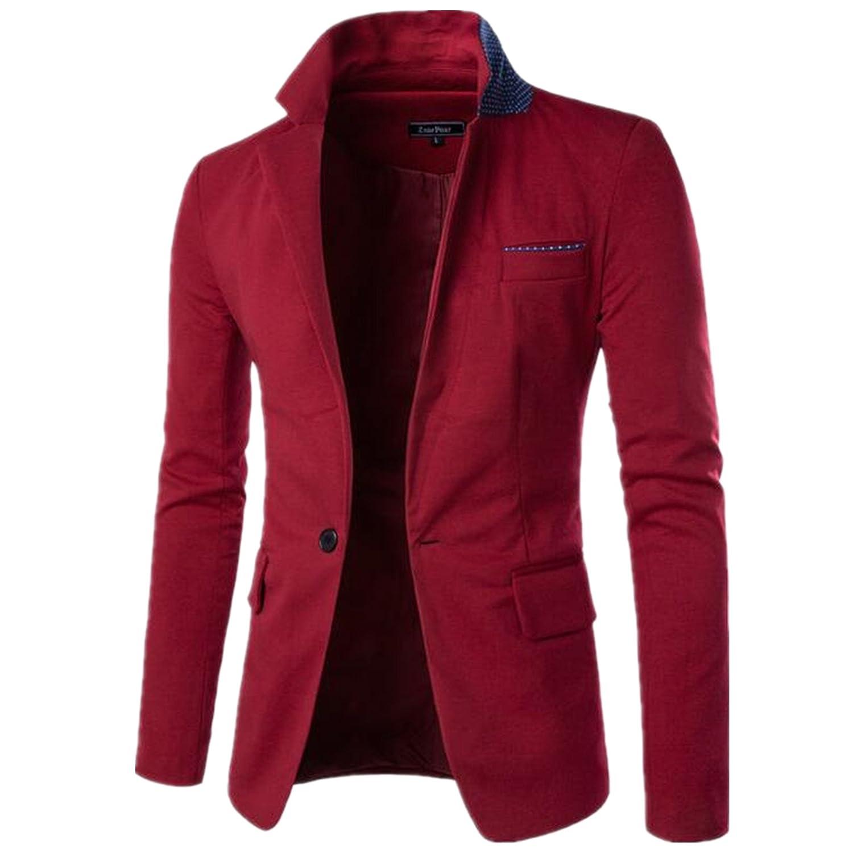 Allonly Mens Basic Color Block Peak Lapel Suit Blazer Jacket One Button Suit