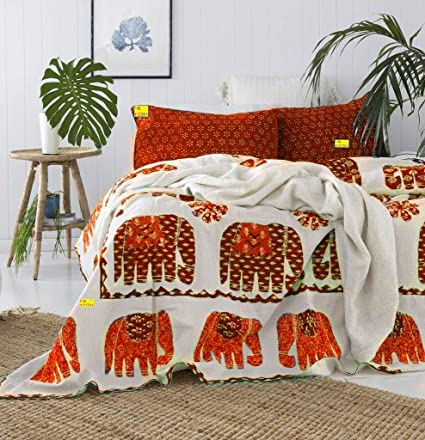 8c145fe0a78a Buy FAB NATION Cotton Jaipuri Traditional Elephant Print Double Bedsheet  with 2 Zipper Pillow Covers (Multicolour) Online at Low Prices in India -  Amazon.in