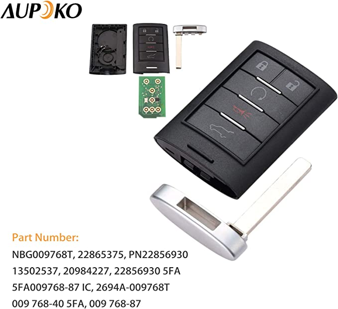 Fits for for Cadillac SRX ATS ELR XTS 2013-2014 Replace# 22865375 Aupoko Keyless Entry Remote Control NBG009768T 5 Button 315MHz Uncut Insert Blade Car Smart Key Fob PN22856930