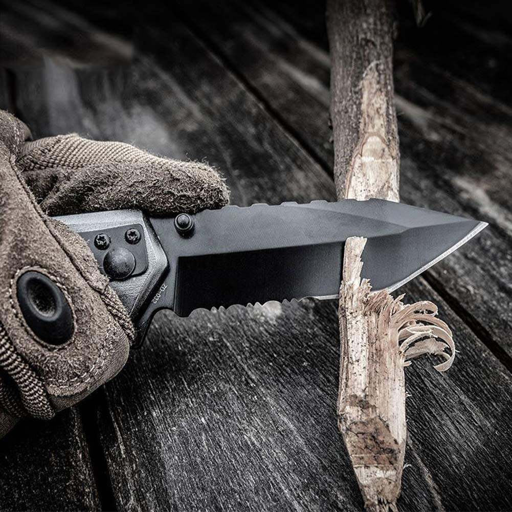 Navaja Plegable Supervivencia Caza Profesional, Cuchillo Plegable con Hoja de Enchapado de Titanio, 6-en-1 Multifuncional Adecuado para Senderismo ...