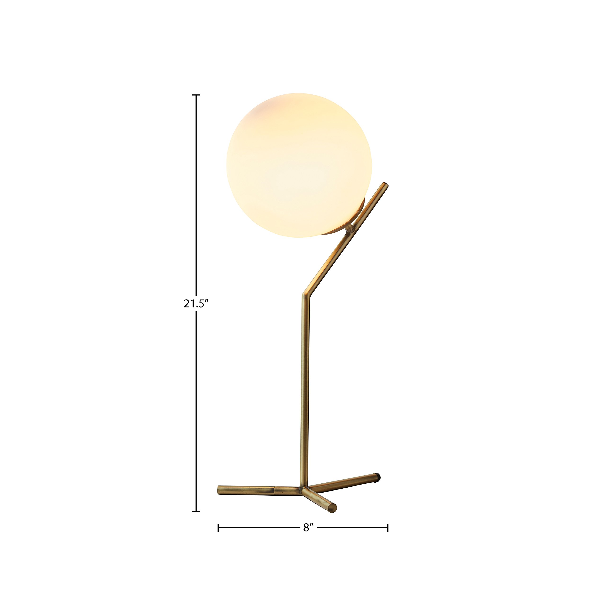 Rivet Glass Ball and Angled Metal Table Lamp with Bulb, 21.5''H, Brass by Rivet (Image #6)
