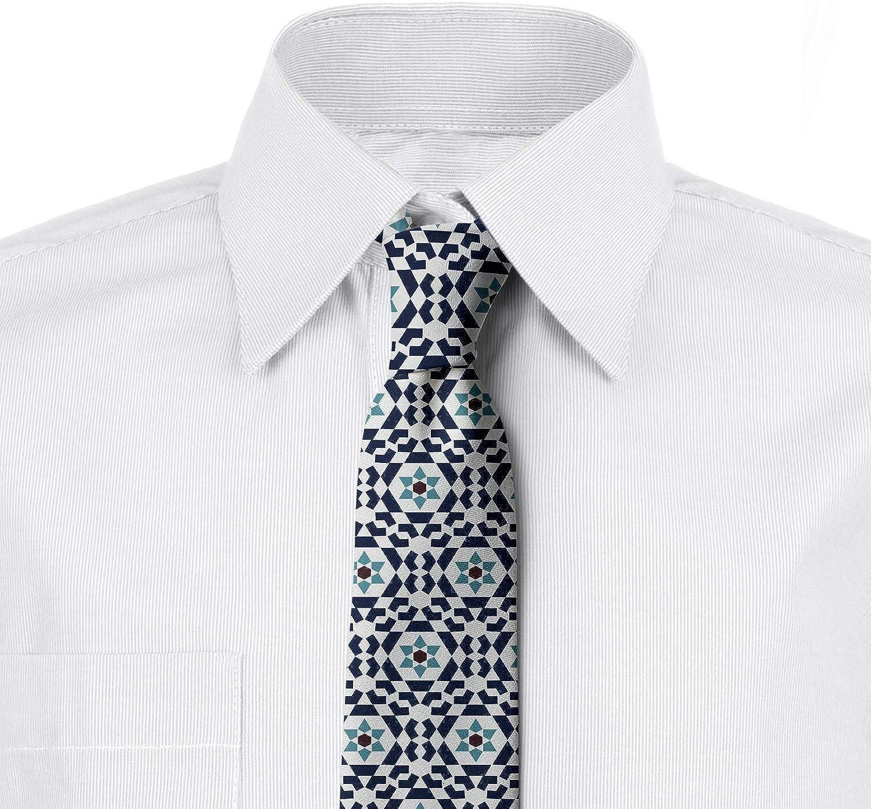 Blue Grey Night Blue Oriental Geometric Floral 3.7 Ambesonne Mens Tie
