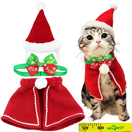 37b1d0487b Cute Dog Cat Pet Christmas Santa Cloak Costume and Collar Bow Tie for Puppy  Kitten Small