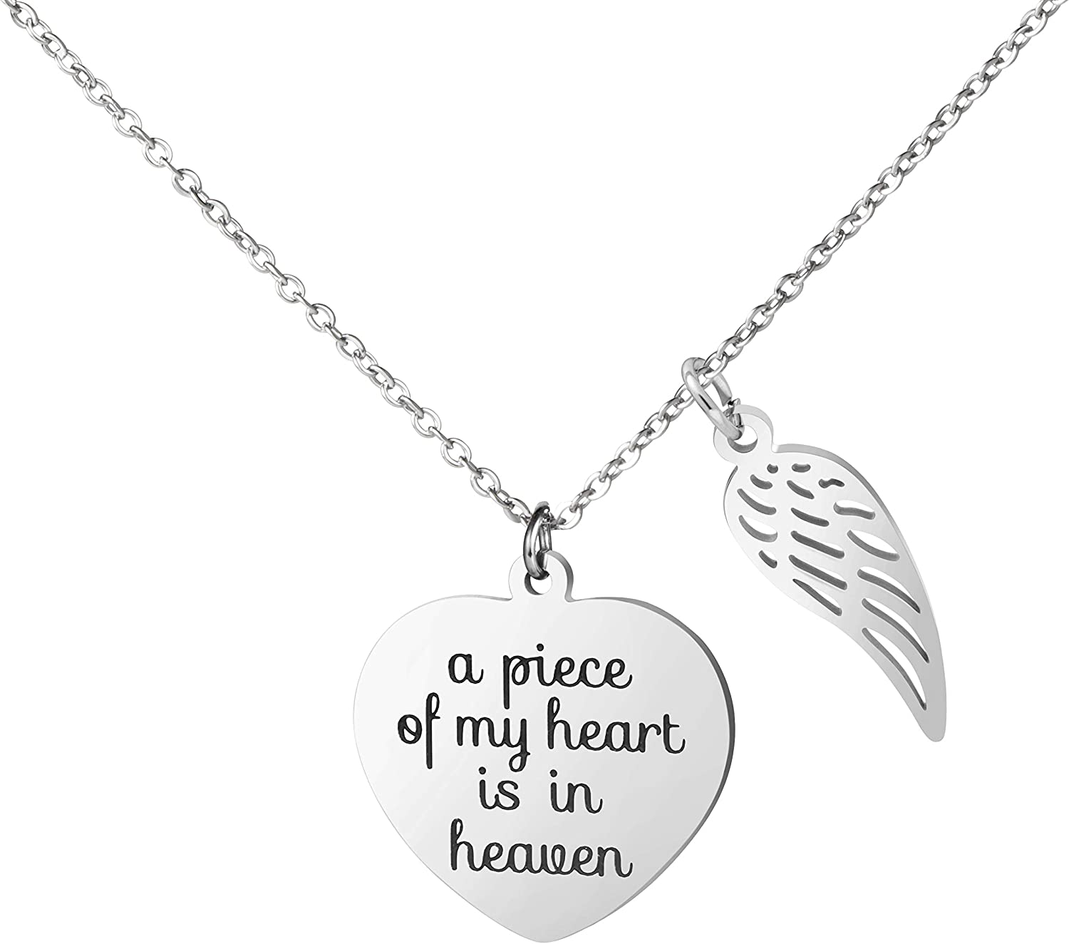 Amazon Com Personalized Remembrance Necklace A Piece Of My Heart Is In Heaven Pregnancy Loss In Memory Angel Jewelry