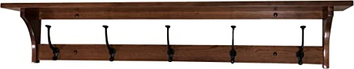 Wall Mounted Shaker Coat Rack with Shelf Rustic Wooden Entryway Shelf with Wrought Iron Hooks Wall Shelf Coat Hanger Hanging Coat Shelf 5 Hooks, Cherry Wood, Choose Your Stain