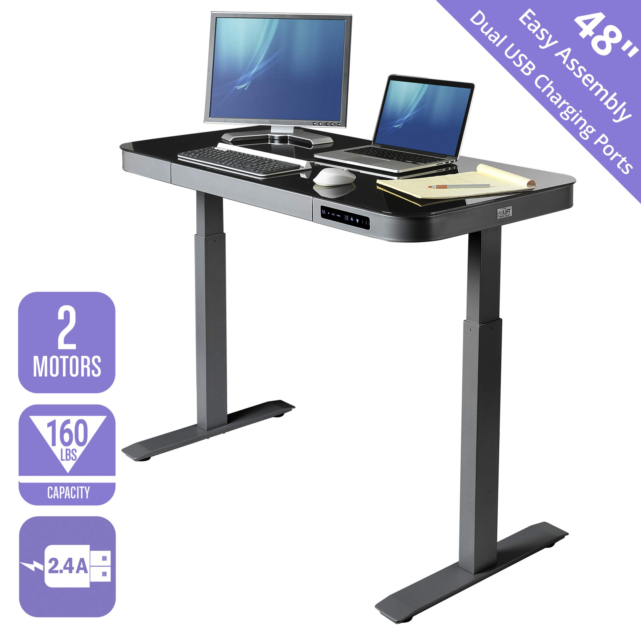 Seville Classics AIRLIFT Tempered Glass Electric Standing Desk with Drawer, 2.4A USB Ports, 3 Memory Buttons (Max. Height 47'') Dual Motors, Gray with Black Top by Seville Classics