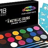 Face Paint Kit Non-Grease 18 Colors Including 4 Metallic 3 Brushes 30 Stencils Face Paints Body Paint Palette Kids Safe…