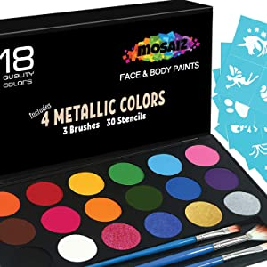 Face Paint Kit Non-Grease 18 Colors Including 4 Metallic 3 Brushes 30 Stencils Face Paints Body Paint Palette Kids Safe Face Painting Supplies Christmas Makeup Facepaint Makeup Costume Birthday Party