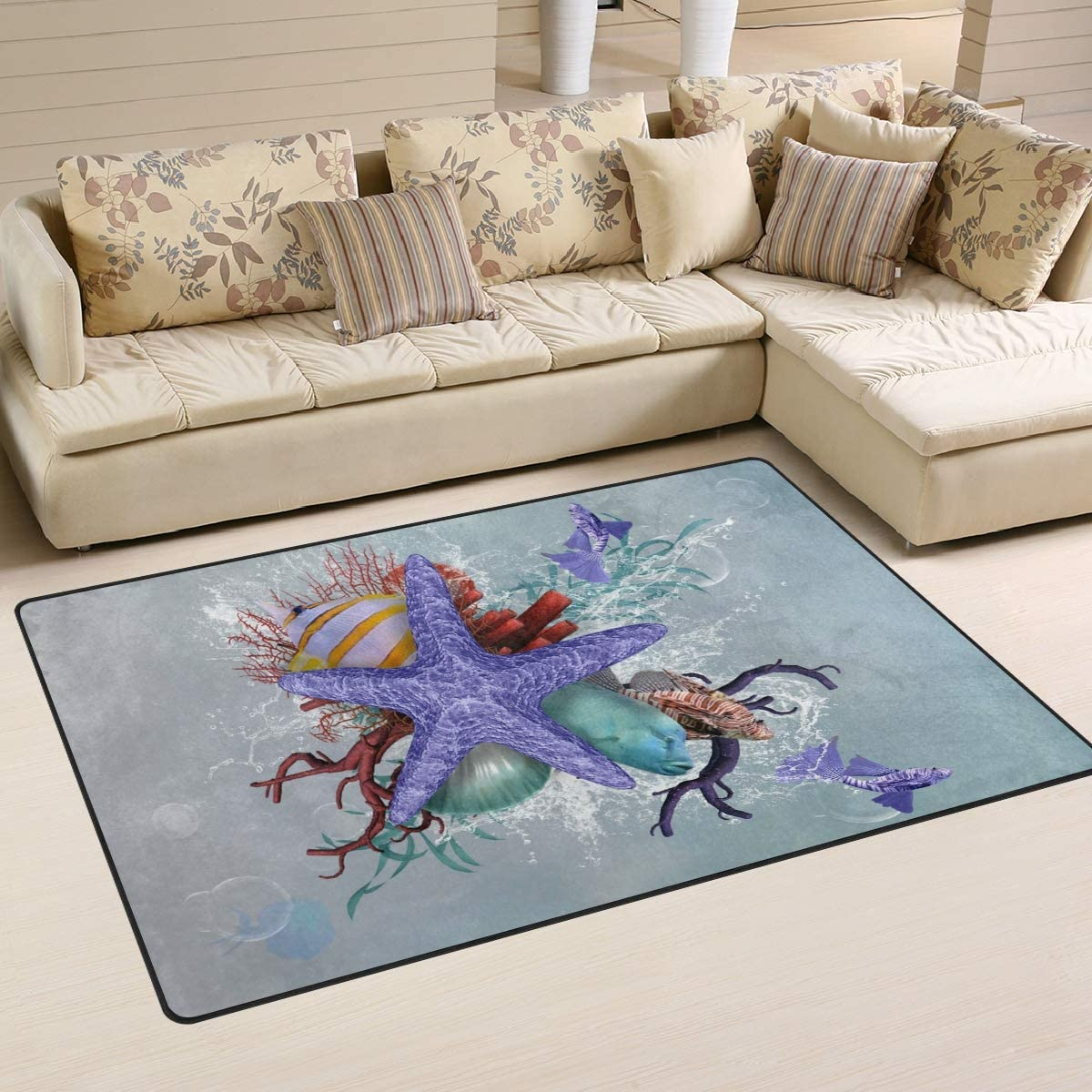 20 x 31 Inches // 50 x 80 cm Naanle Ocean Starfish Non Slip Area Rug for Living Dinning Room Bedroom Kitchen 1.7  x 2.6 Starfish Nursery Rug Floor Carpet Yoga Mat