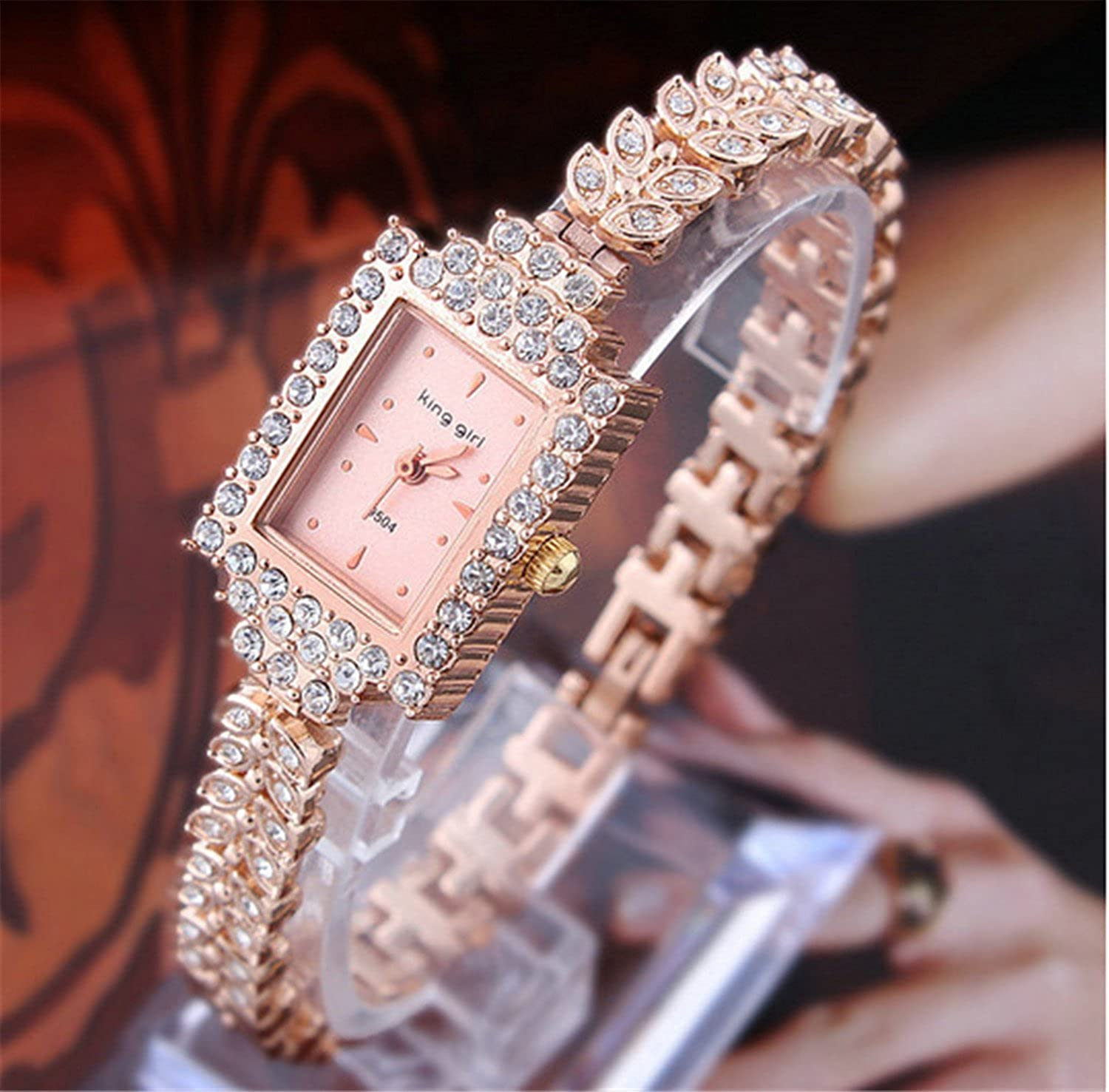 Amazon.com: COCOTINA Brand New Lady Women Quartz Rhinestone Crystal Wrist Watch Square gold surface: Watches