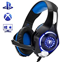 Beexcellent Gaming Headset for PS4 Xbox One Nintendo Switch (Audio) PC Gaming Headphone with Crystal Stereo Bass Surround Sound, LED Lights & Noise-Isolation Microphone