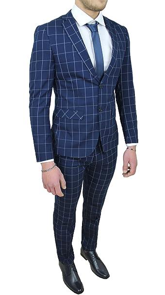 Abito completo uomo sartoriale blu quadri vestito elegante cerimonia (44) 76796510942