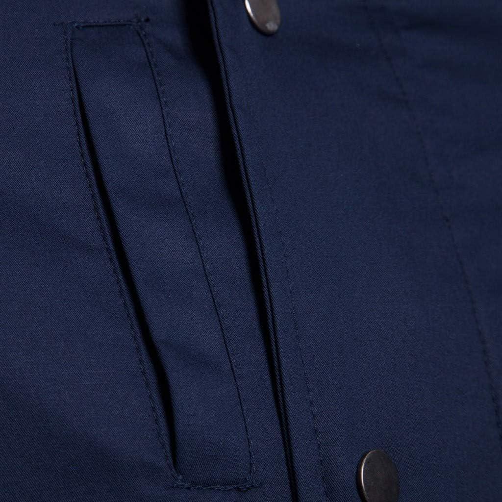 Men Spring Winter Solid Color Jacket Zipper Button Hooded Pocket Coat Top Blouse