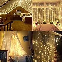 Foccoe 20 m 200LED Codena de Luces de Navidad con 8 Modelos de Iluminación para la Decoración de Fiestas y Bodas, recámara, toldo de cama, jardín, patio (Cálido amarillo )
