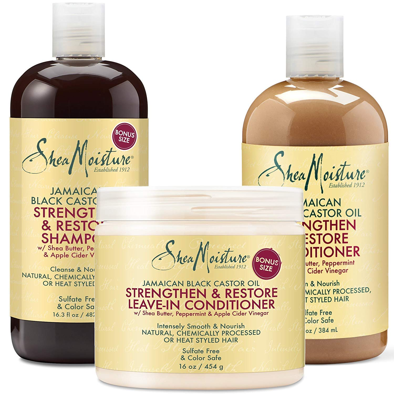 Shea Moisture Jamaican Black Castor Oil Combination Pack - Strengthen, Grow & Restore - Shampoo, 16.3 Oz, Conditioner 13 Oz. & Leave-In Conditioner16 Oz by Shea Moisture