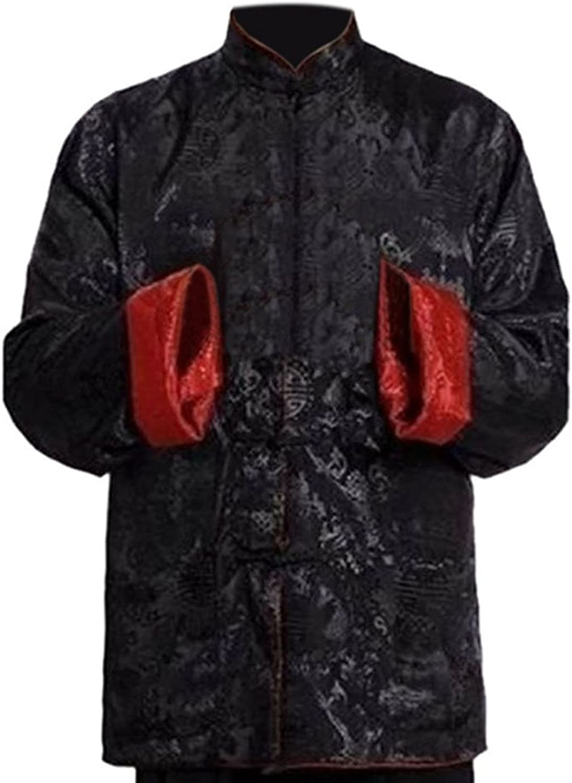 Deylaying Hombre Reversible Ambos Lados Capa Chaqueta Traje Tang Chino Tradicional Manga Larga Artes Marciales Kung fu Camisa