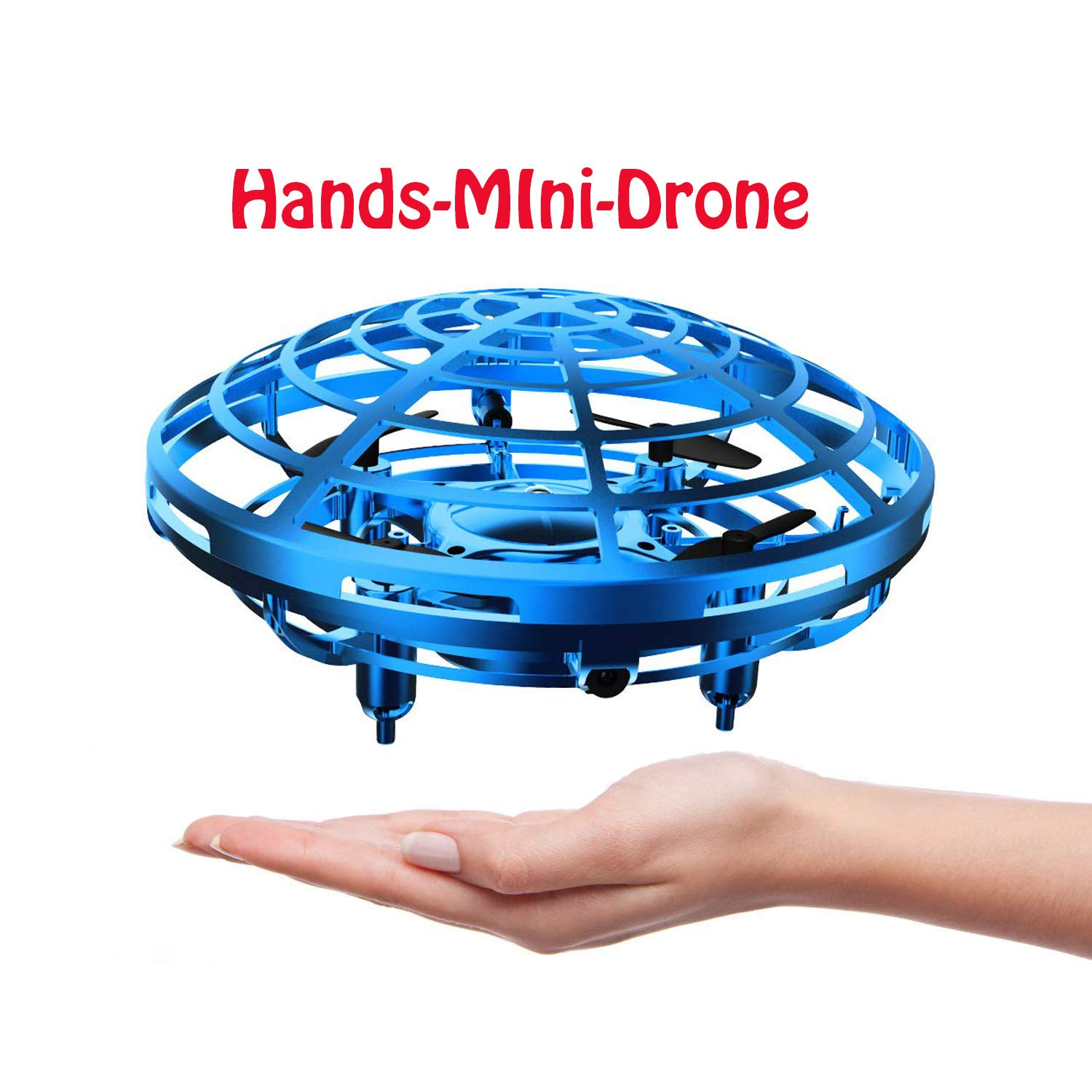 DaycMy Mini UFO Flying Ball Toys, Hand-Controlled Drone Quadcopter Flying Ball Toy Drones ,Infrared Induction Interactive Drone Indoor Flyer Toys with 360° for Kids, Teenagers Boys Girls(Blue) by DaycMy