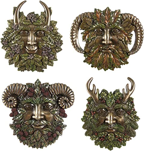 Set of Four Greenman Seasons Bronzed Colored Finish Green Man Wall Plaque