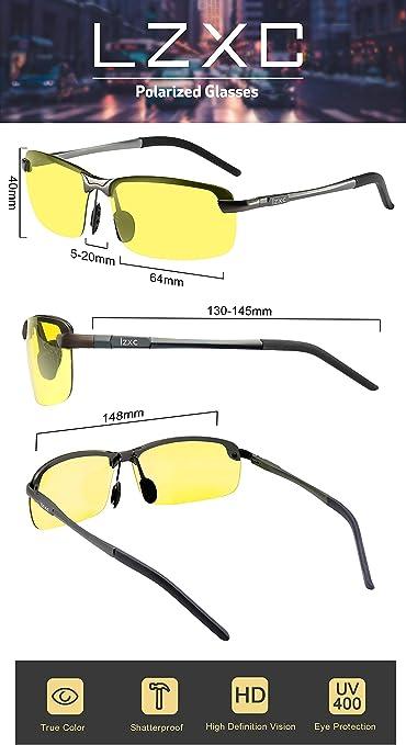 LZXC polarizzata occhiali da sole giorno e lo sport visione notturna di guida esterna Occhiali Uomini Unbreakable Ultra-Light Regolabile AL-MG Telaio