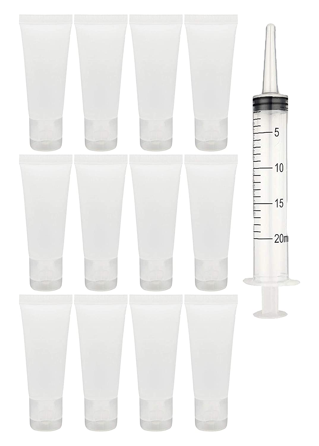 Jadsy Creations - (12pcs per pack) 100ml Empty Cosmetic Tubes with free Syringe Soft Tubes Container Bottle Vial Jar with Flip Cap Storage for Shower Gel Body Lotion Cleanser Shampoo