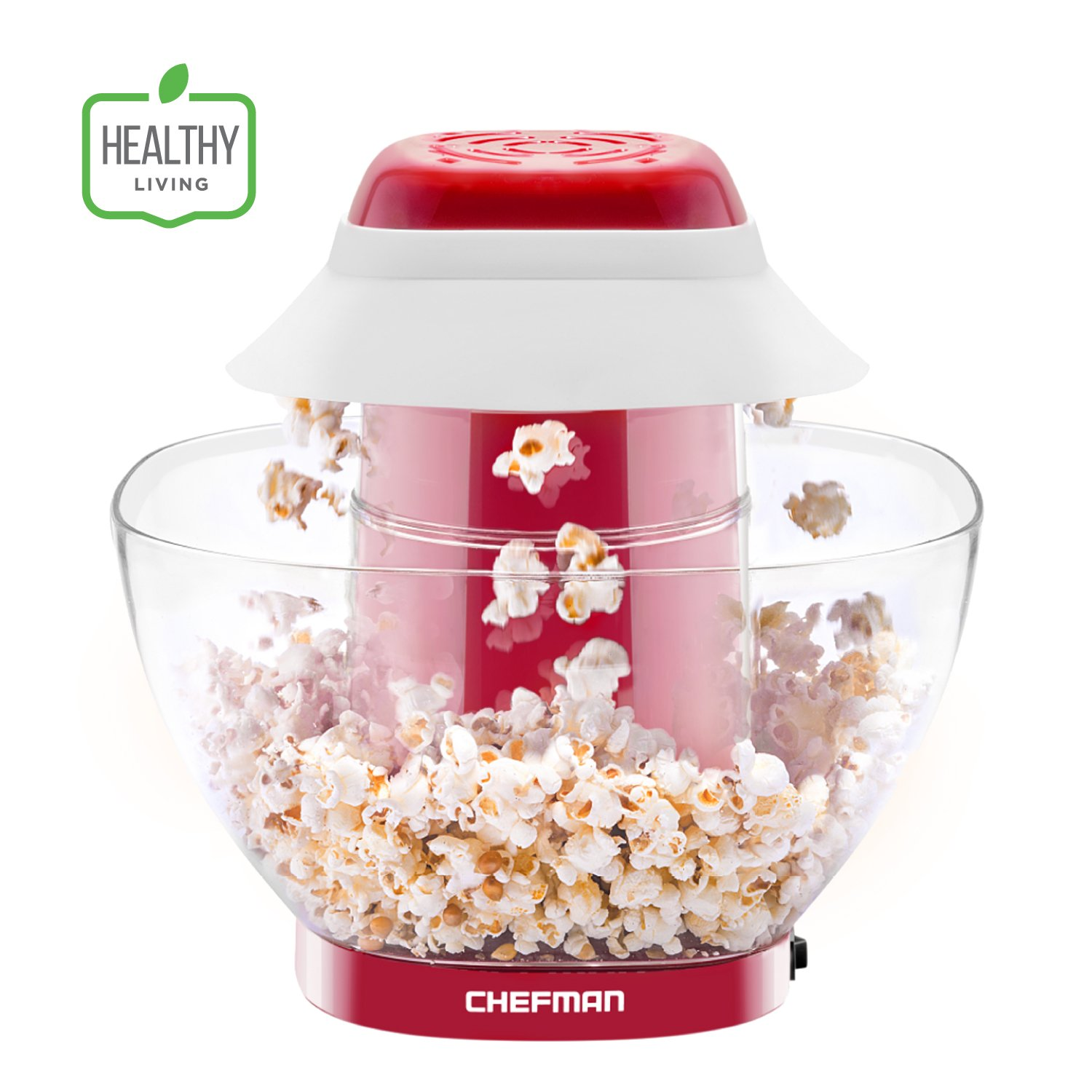 Chefman Electric Perfect Pop Volcano Popcorn Maker with Removable Serving Bowl, Healthier & Faster Than Microwave, No Oil Needed, Mess Free, Dishwasher Safe Parts, Family Size, 12 Cups, Red