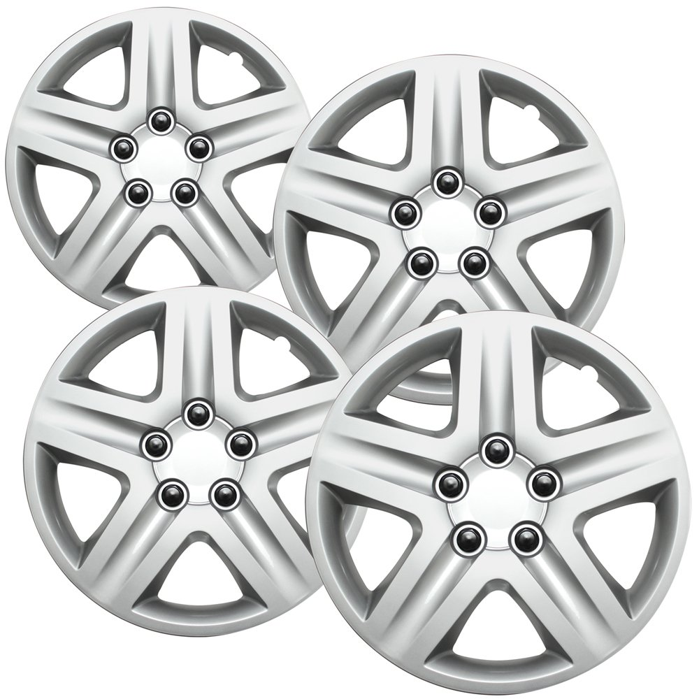 OxGord Hub-caps for 06-11 Chevrolet Impala (Pack of 4) Wheel Covers 16 inch Snap On Silver WCHC-3021-16SL