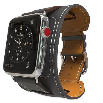 MoKo Correa para Apple Watch Series 5/4/3/2/1 38mm 40mm - Reemplazo SmartWatch Cuff Band de Reloj Cuero Auténtico Imitado Pulsera Accesorios para ...
