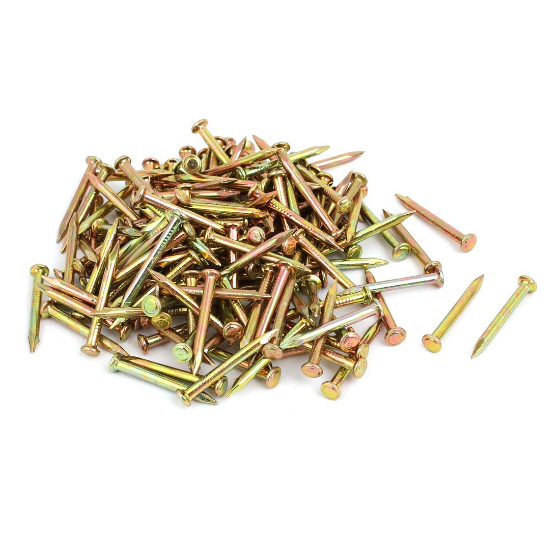 uxcell 200pcs 30mm Length Steel Point Tip Cement Nail Bronze Tone