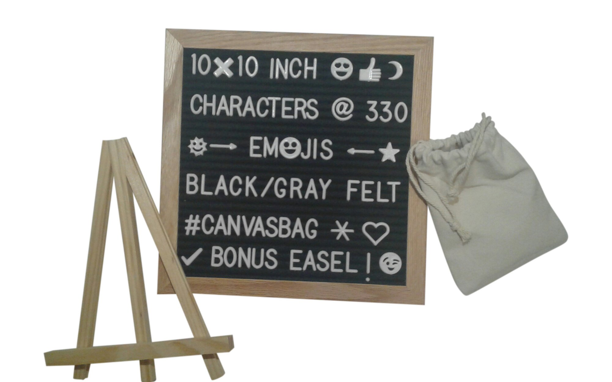 Letter Board With New Emoji ;) Felt Black Or Gray Includes Changeable Letters Numbers Symbols 330 Characters 10x10 Inch Novelty LetterBoard With Attached Wall Mount Canvas Bag And Bonus Free Stand