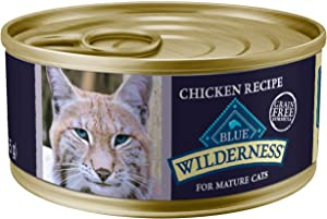 Blue Buffalo Wilderness High Protein Grain Free, Natural Mature Pate Wet Cat Food, Chicken 5.5-oz cans (Pack of 24)