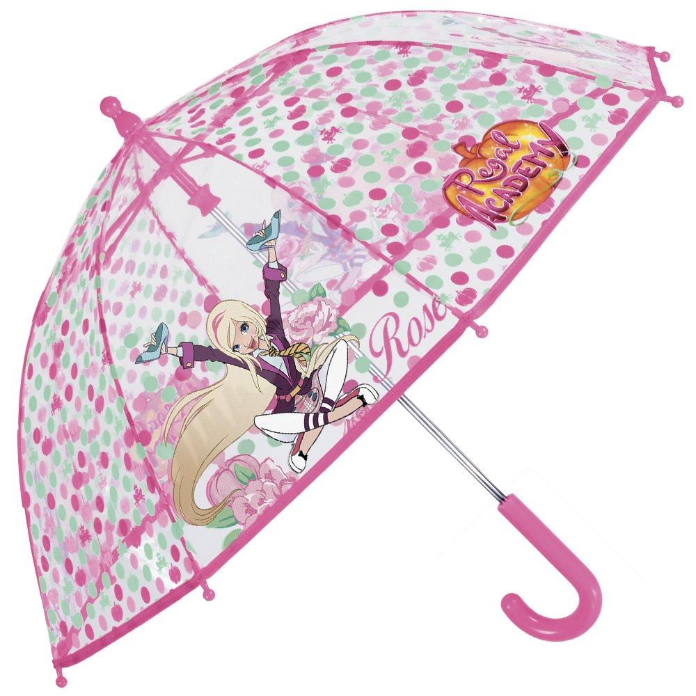 Perletti Regenschirm Regal Academy - Kinderschirm für Mädchen mit Transparenter Kuppel, Robust, windfest - Sicher Kinderregenschirm mit abgerundeten, blockierten Spitzen - Manuelle Öffnung 75141
