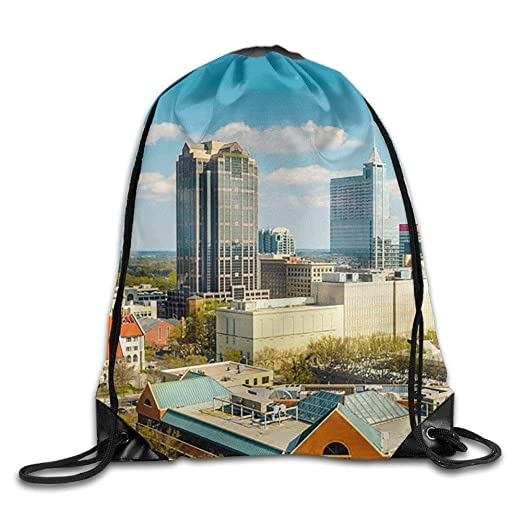 c1f88c255451 Amazon.com | Raleigh North Carolina Skyline Gym Beam Port Drawstring ...