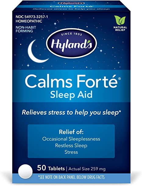 Sleep Aid Tablets, Calms Forte by Hyland's, Natural Anxiety, Stress, and Insomnia Relief Supplement, 50 Count