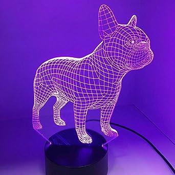 Fissen 3d Bouledogue Francais Led Lampe D Illusion Optique Lampe