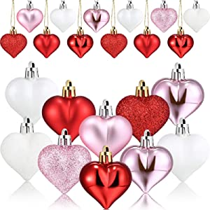 48 Pieces Heart Shaped Ornament for Valentine's Day Heart Shaped Baubles Valentine Ornaments for Home Party Decor DIY Craft, Matte, Glitter, Sequined (White, Red, Pink)