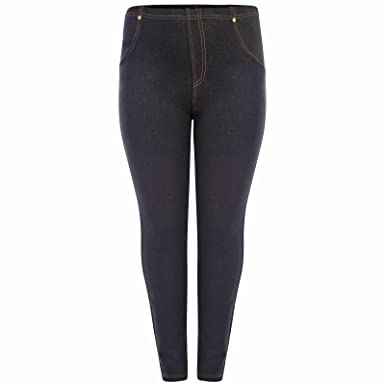 26a735bacc97f Get The Trend Womens Plus Size High Waisted Denim Blue Black Jeggings Jean  Leggings 16-26: Amazon.co.uk: Clothing