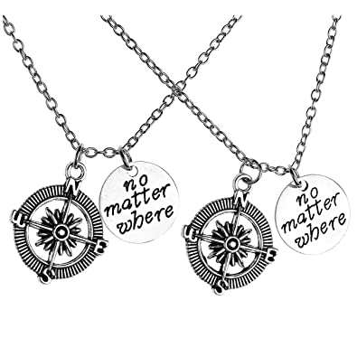Friendship Pendant Necklace Jovivi 2pc no matter where compass charm bff friendship pendant jovivi 2pc no matter where compass charm bff friendship pendant necklace jewelry set audiocablefo