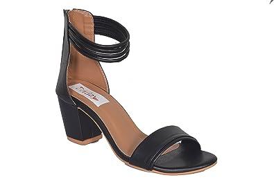 Sandals Friday Strap Black Ankle Block Heel 8ymn0wOvN