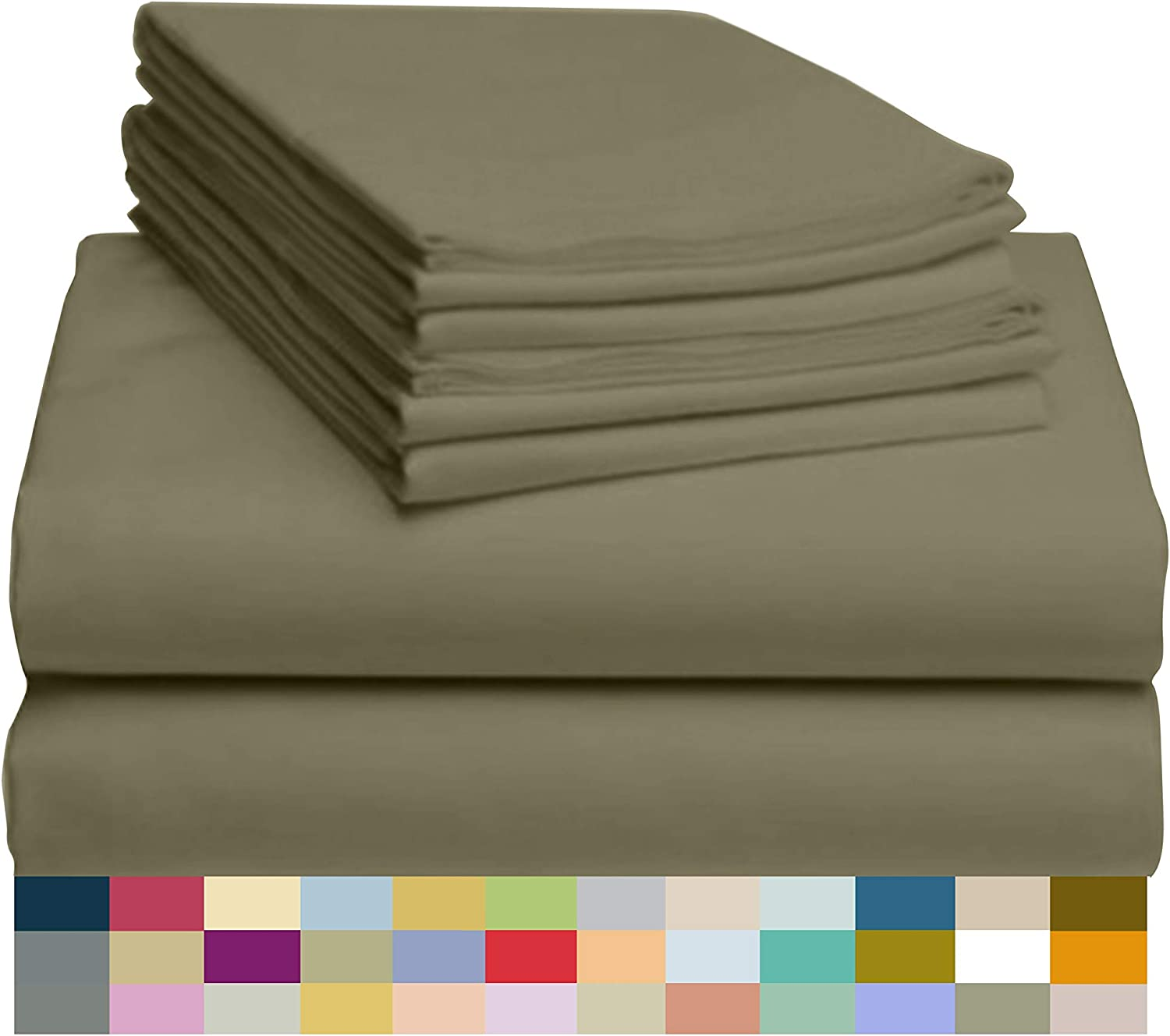 """LuxClub 6 PC Sheet Set Bamboo Sheets Deep Pockets 18"""" Eco Friendly Wrinkle Free Sheets Hypoallergenic Anti-Bacteria Machine Washable Hotel Bedding Silky Soft - Olive Queen"""