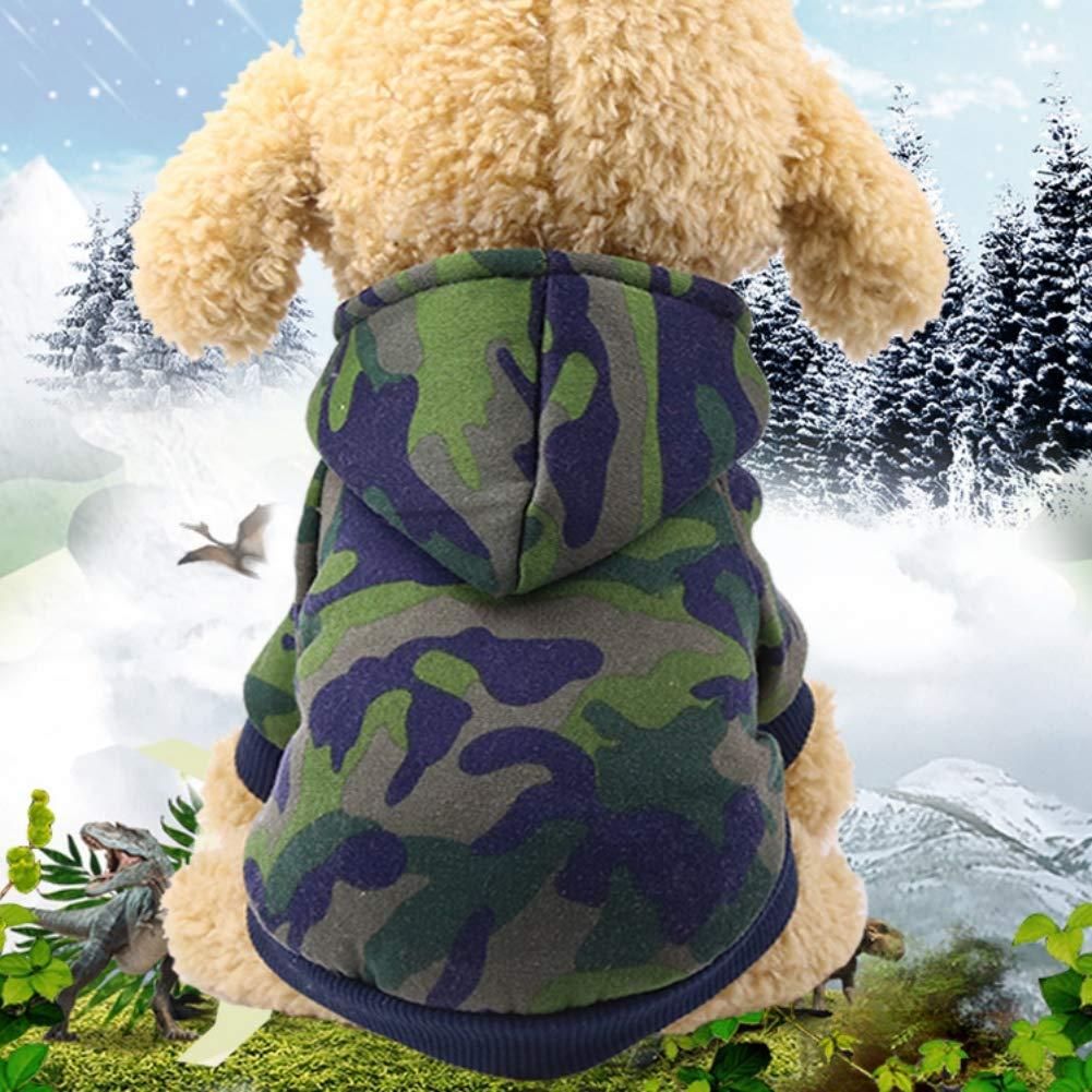 Ofanyia Sweat-Shirt à Capuche pour Animaux de Compagnie Camouflage Hiver Sweat-Shirt à Capuche en Coton Adidog