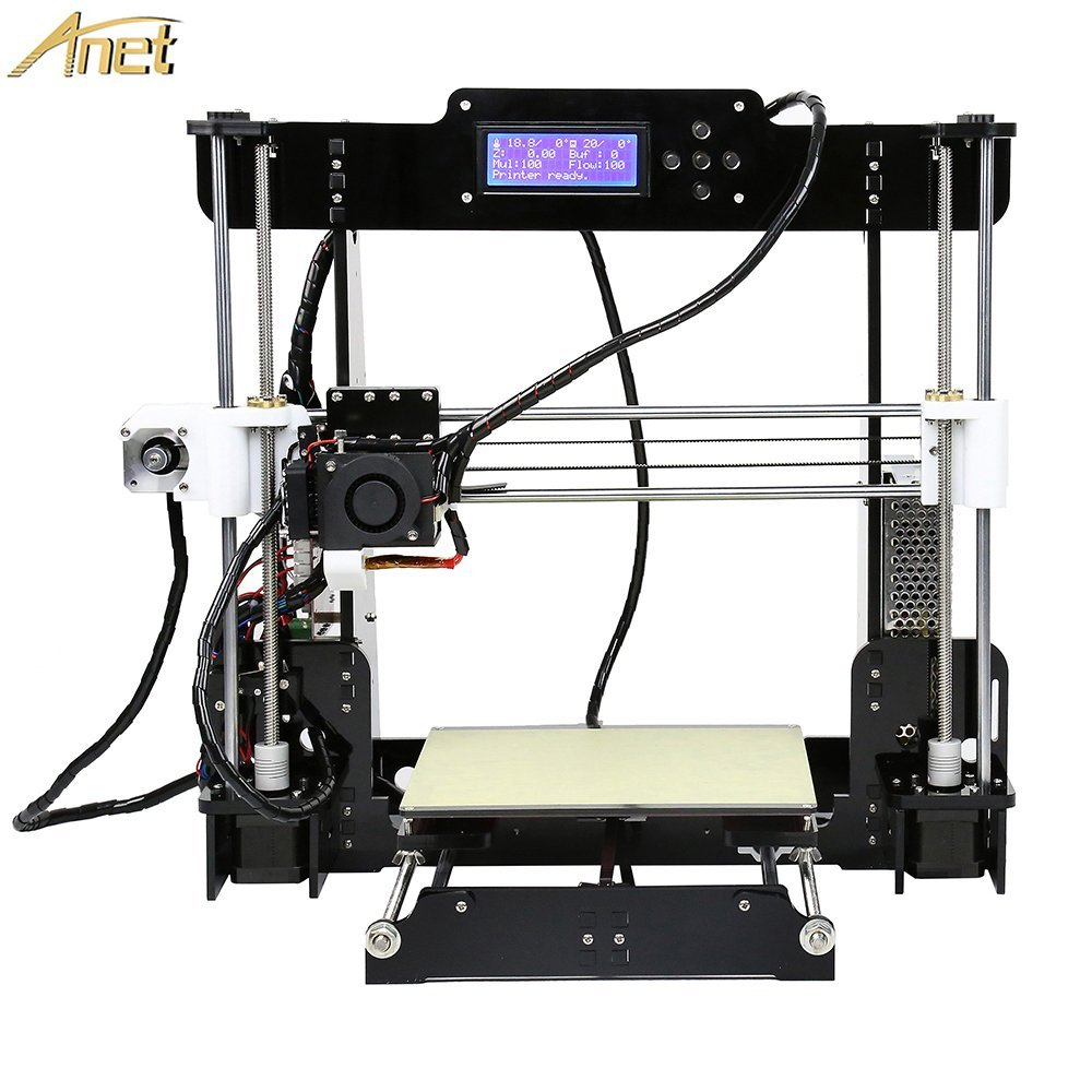 Anet A8 3D Printer, Self-Assembly 0.4mm Nozzle Aluminium Alloy Hotbed 2004 LCD Desktop 3D Printer Reprap i3 with Tools, 8G SD Card, 10m Filaments