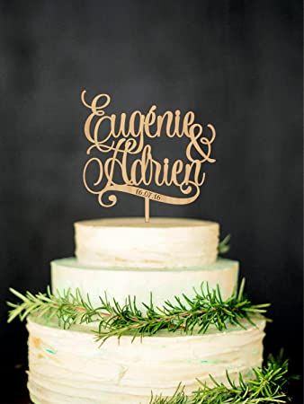 Personalised Wedding Cake Topper With Names And Date Custom Cake
