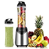 Smoothies Blender 300 Watt with 2 Pieces 18 oz BPA Free Portable Travel Sports Bottles (Silver 2 Cups) (Color: Silver 2 Cups, Tamaño: 1802S2 (300W))