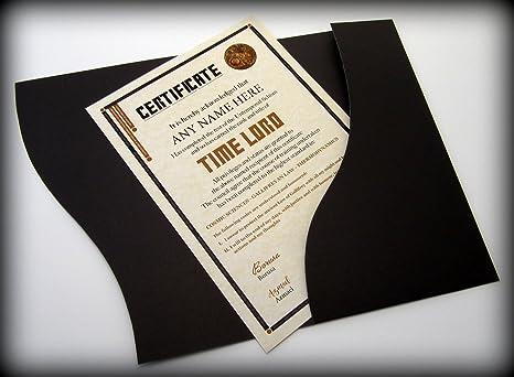 Idee Regalo Per Ufficio : Certificato personalizzato doctor who signore del tempo idea