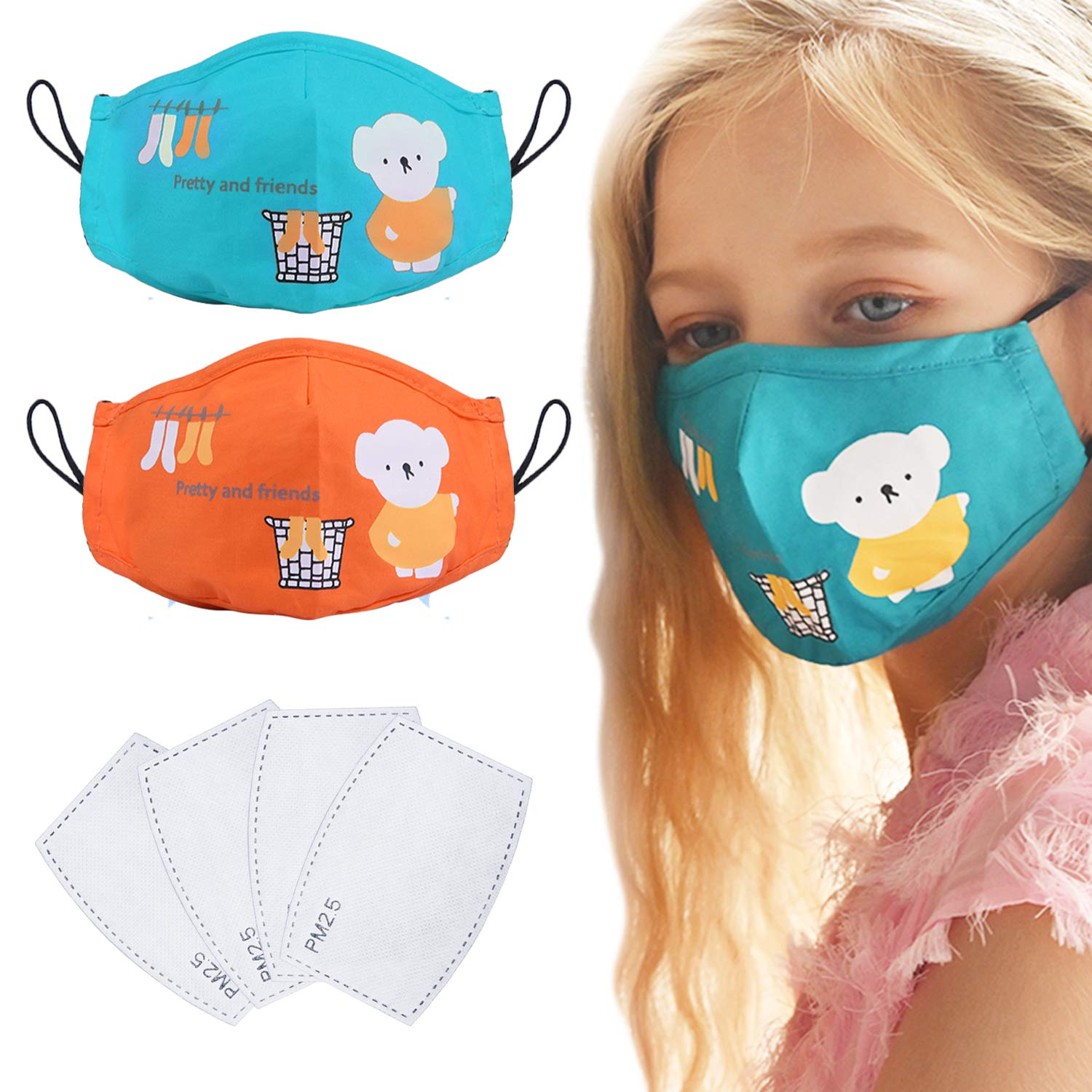 2 Pack Reusable Cotton Cover for Kids, Washable Fashion Bear Cotton Cloth with 4 Pcs Replacement Filters Adjustable Ear Loops for Children Kids