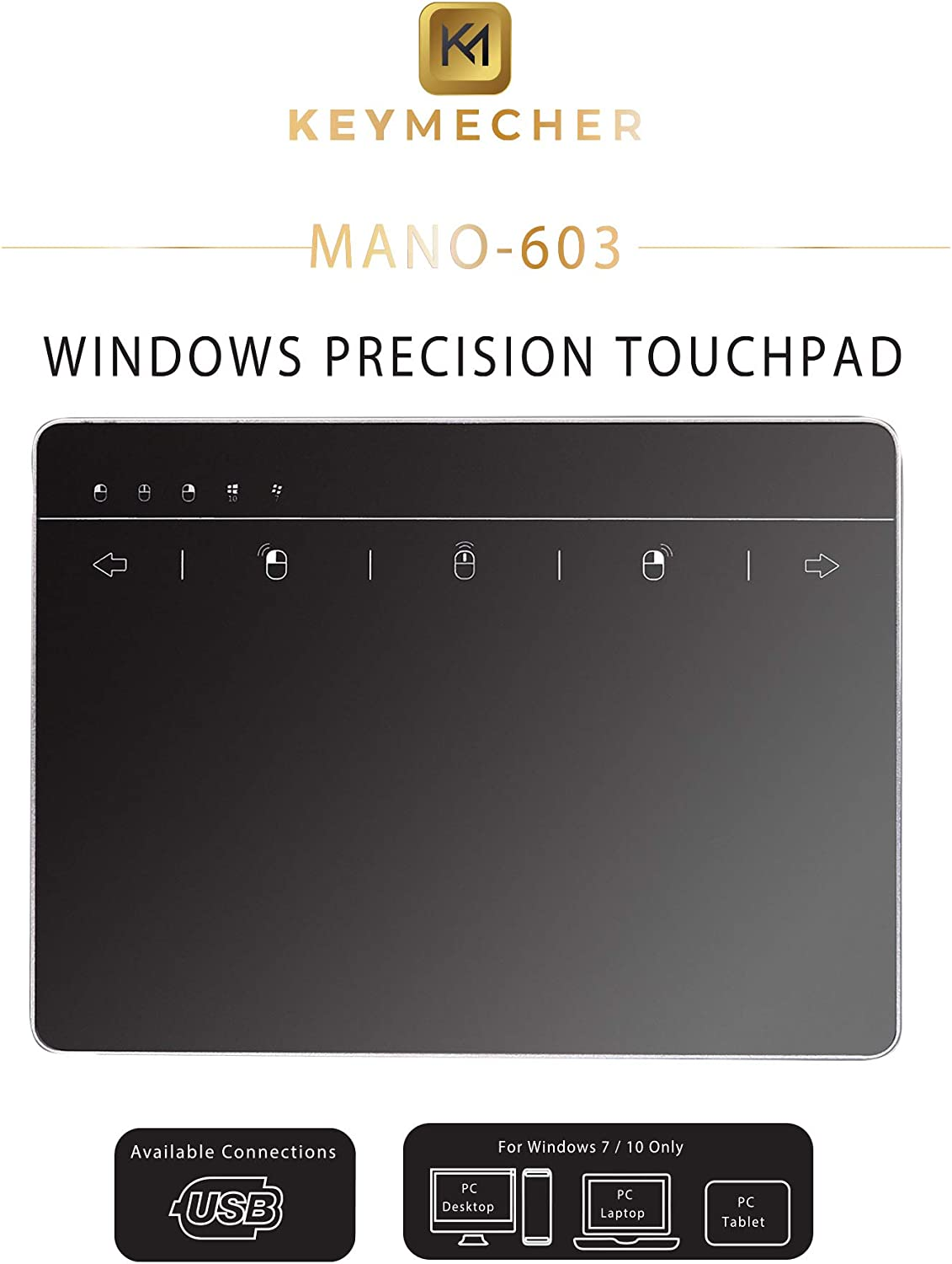 Keymecher Mano Multi-Gesture Wired Trackpad for Windows 7 and Windows 10, USB Slim Touchpad Mouse for Computer, Notebook, PC, and Laptop (Aluminum Black, Support Windows Precision Touchpad)