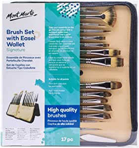 Mont Marte Signature Brush Set with Wallet, 17 Piece, Suitable for Oil, Acrylic, Watercolor and Gouache Paint, Easel Wallet Included